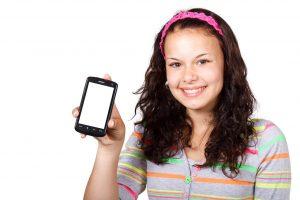 smartphone on girls hand